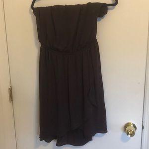 Strapless purple flowy sheer dress